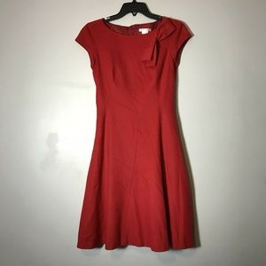 Paule Ka Red Fit Flare Bow Detail Dress Size 36